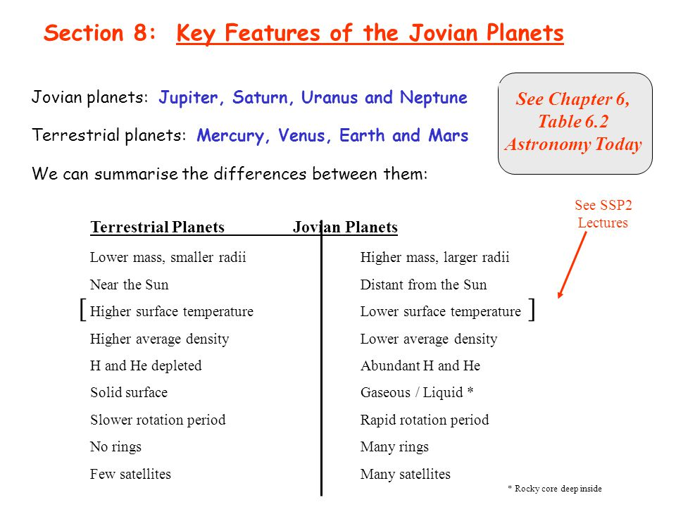 [ ] Section 8: Key Features of the Jovian Planets See Chapter 6,